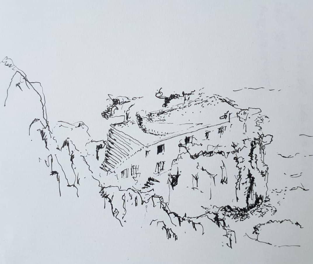 Croquis  de la découverte de la célèbre Villa Malaparte (arch. Adalberto Libera) à Capri lieu du non moins célèbre film de Jean-Luc Godard : Le Mépris (1963).